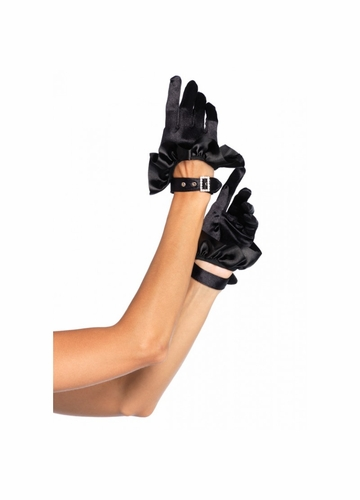 Cropped Satin Gloves with Crystal Buckle