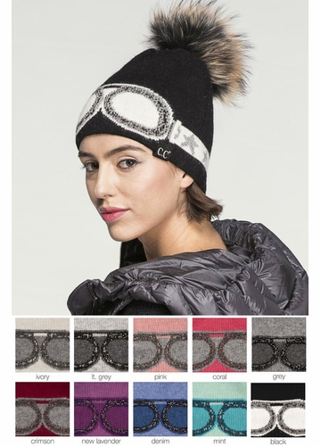 Crystal Goggles CC Beanie Hat with Pom