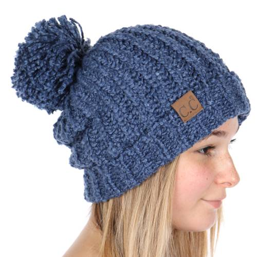 Dark Denim Twisty Chenille Knit CC Beanie Hat 03d318585a32