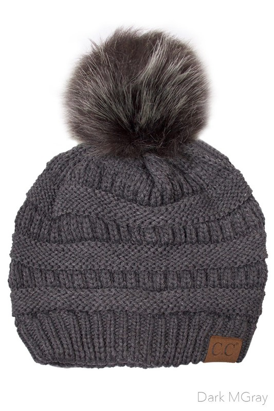 Dark Grey CC Knit Beanie Hat with Matching Fur Pom Pom 85d70f90bd9