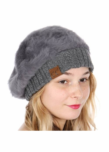 Dark Melange Grey Cable Knit and Faux Fur Beret by CC Brand