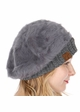 Dark Melange Grey Cable Knit and Faux Fur Beret by CC Brand inset 1