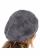 Dark Melange Grey Cable Knit and Faux Fur Beret by CC Brand inset 2