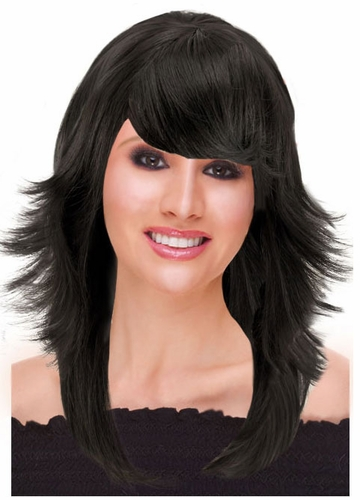 Deluxe Feathered Retro Wig in Black