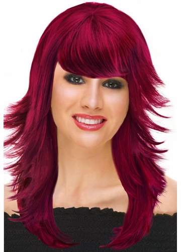 Deluxe Feathered Retro Wig in Burgundy