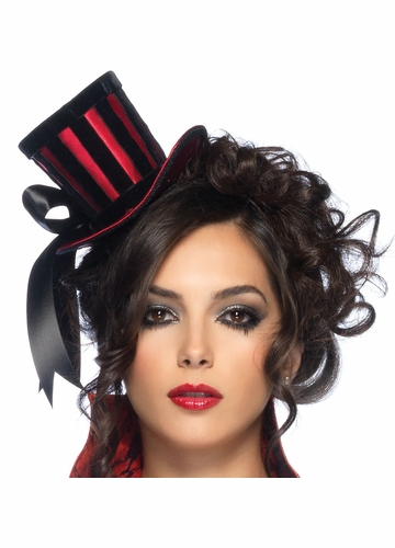 Deluxe Velvet and Striped Satin Top Hat with Bow Accent