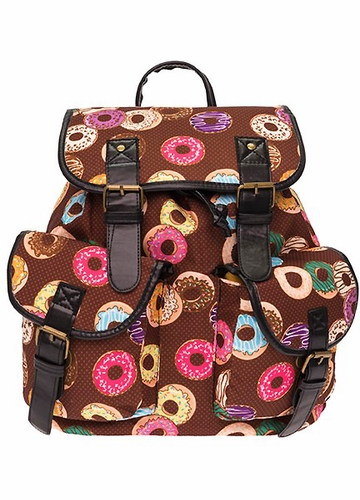Donuts Print Canvas Backpack