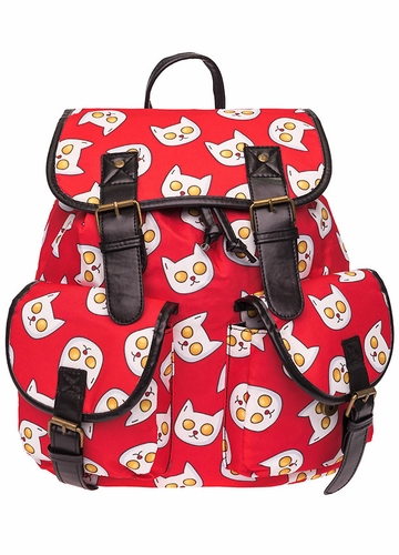 Egg Cat Canvas Backpack by Zohra