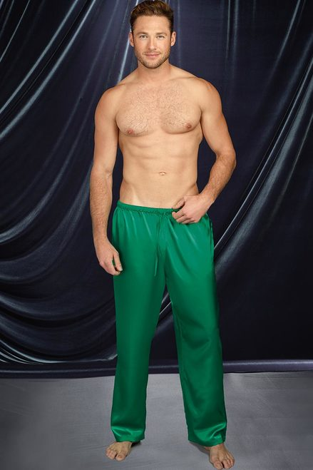 Emerald Green Satin Drawstring Lounge Pants For Men