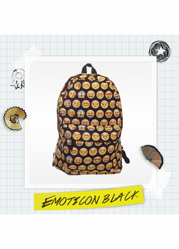 Emoticon Print Backpack by Zohra