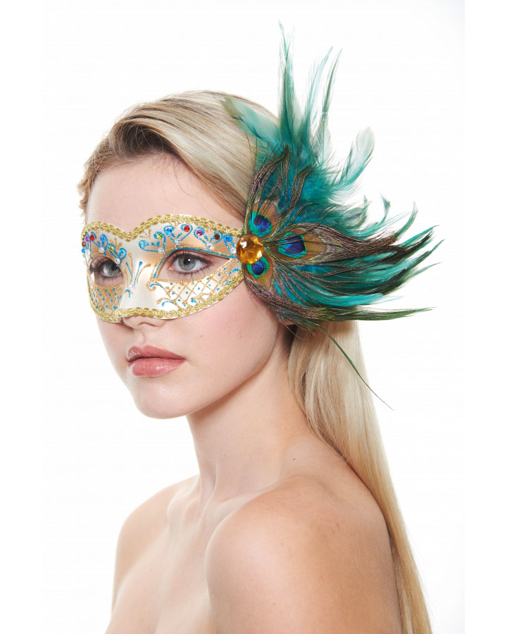 Eyes Have It Masquerade Mask with Peacock Feathers