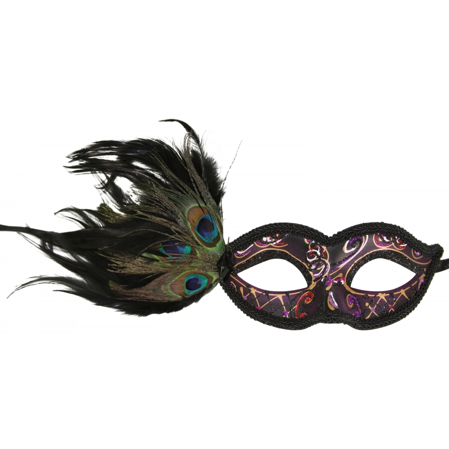 eyes have it masquerade mask with peacock feathers inset 1