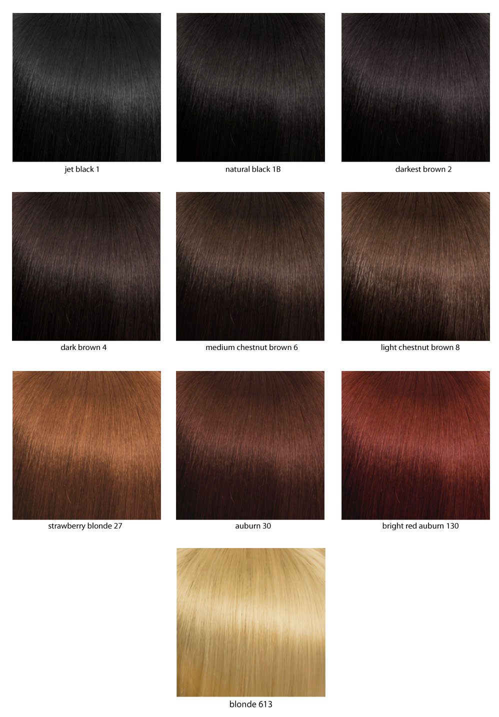 Color chart for wigs - Fairytale Ringlets Princess Wig Xara Inset 1