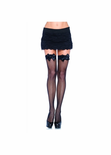 Fishnet Thigh High Stockings with Satin Bow