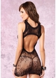 Floral Black Lace Dress with Cutout Back inset 1