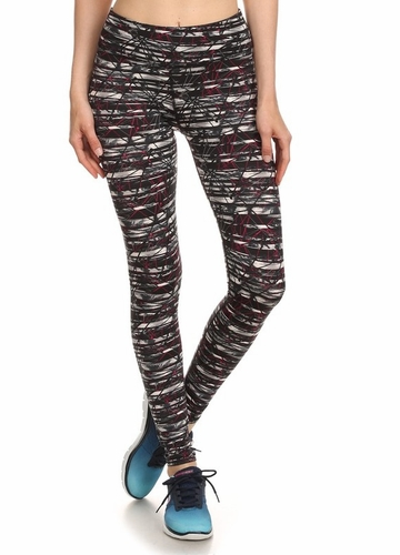 Four Way Stretch Athletic Leggings in Abstract Pattern