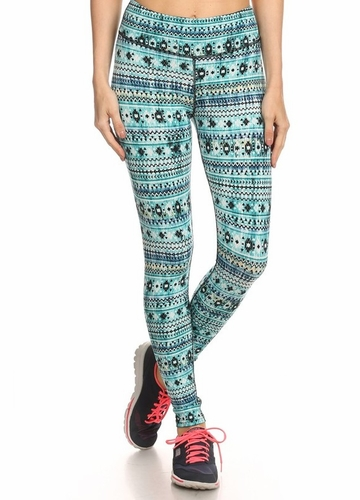 Four Way Stretch Athletic Leggings in Blue Aztec Pattern