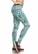 Four Way Stretch Athletic Leggings in Blue Aztec Pattern inset 1
