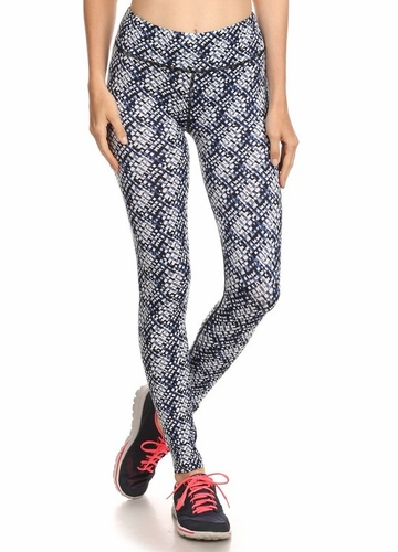 Four Way Stretch Athletic Leggings in Cubic Pattern