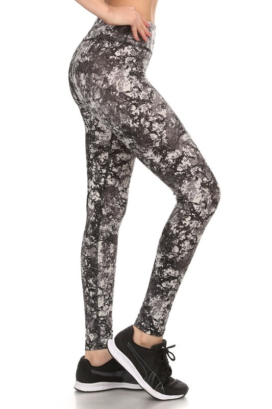 Four Way Stretch Athletic Leggings In Marble Pattern