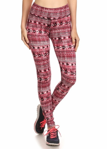 Four Way Stretch Athletic Leggings in Red Aztec Pattern