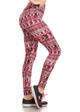 Four Way Stretch Athletic Leggings in Red Aztec Pattern inset 1