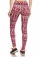 Four Way Stretch Athletic Leggings in Red Aztec Pattern inset 2