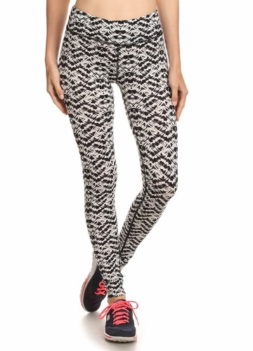 Four Way Stretch Athletic Leggings in Shadow Pattern