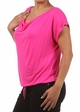 Fuchsia Plus Size Short Sleeve Cowl Neck Top inset 1