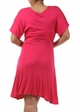 Fuchsia Plus Size Short Sleeve Faux Wrap Dress with Waist Tie inset 3