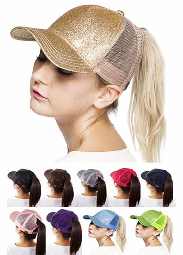 Glitter and Mesh Ponytail Baseball Hat by CC Brand