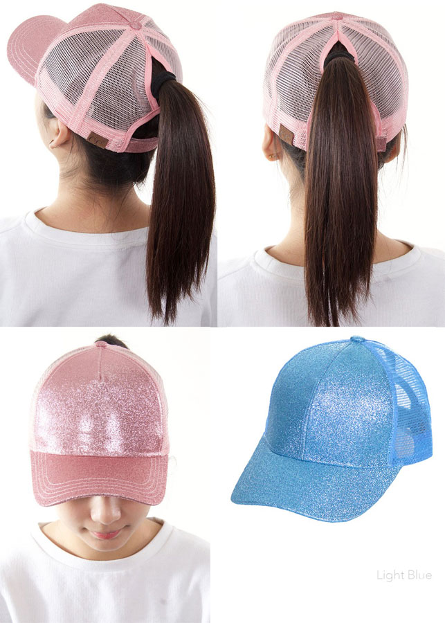 dd665e9aac2ab ... Glitter and Mesh Ponytail Baseball Hat by CC Brand inset 4