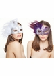 Glitter Scroll Masquerade Mask with Feathers inset 1