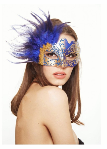 Glitter Scroll Masquerade Mask with Feathers