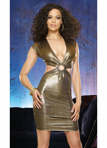 Gold Metallic Club Dress with Cut-Out Details and Ruched Skirt