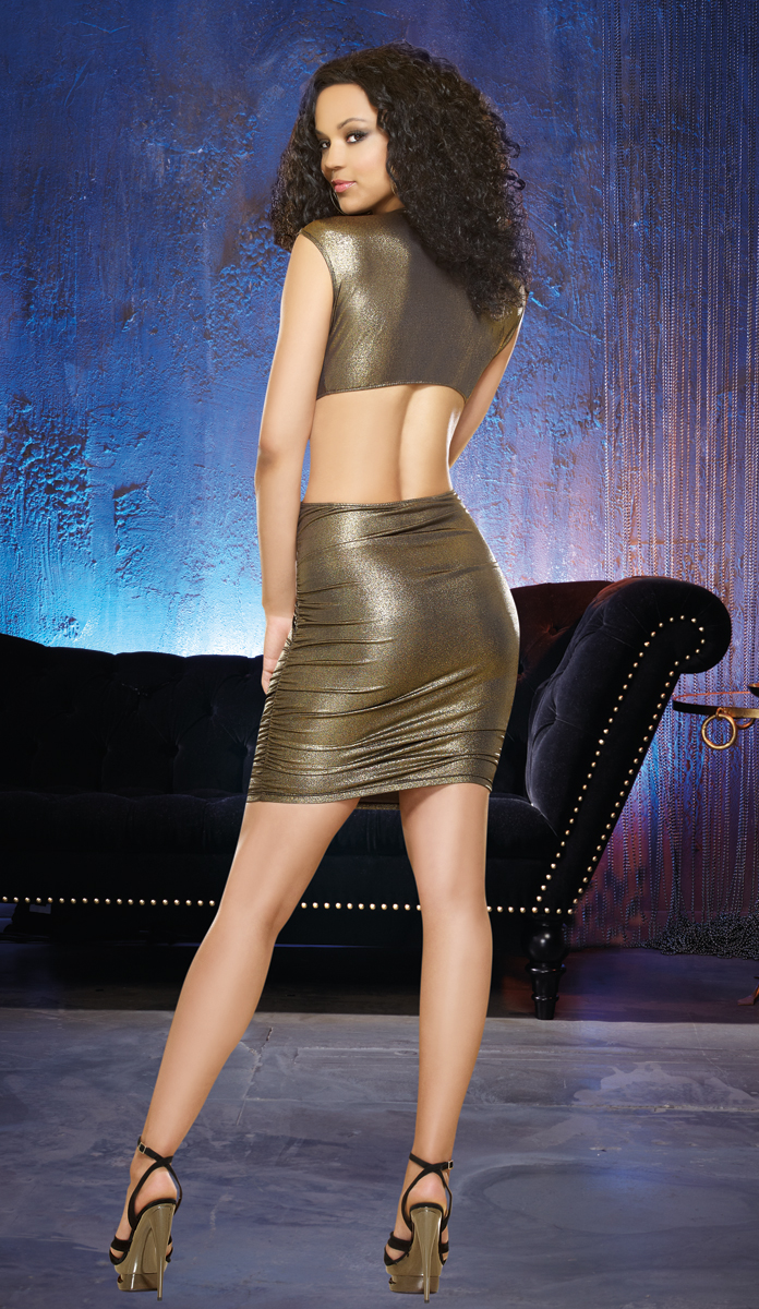 Gold Metallic Club Dress With Cut Out Details And Ruched Skirt