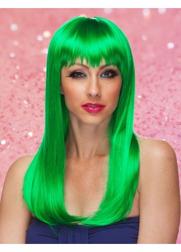 Green Long Straight Wig with Bangs Classy