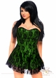 Green Satin Corset Dress with lace Overlay inset 2