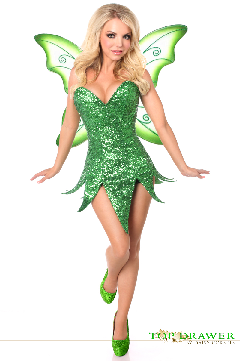 green sequin tinkerbelle fairy corset halloween costume inset 2 - Green Halloween Dress