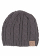 Grey Cable Knit CC Beanie Hat inset 1