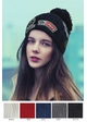 Grey CC Knit Beanie Hat with Patches inset 1