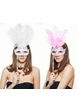 Handheld Masquerade Glitter Mask With Feathers in 8 Colors inset 1