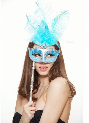 Handheld Masquerade Glitter Mask With Feathers in 8 Colors