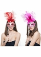 Handheld Masquerade Glitter Mask With Feathers in 8 Colors inset 2