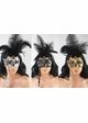 Handheld Masquerade Glitter Mask With Feathers in 8 Colors inset 3