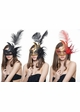 Handheld Swan Masquerade Mask With Feathers in 12 colors inset 1