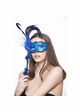 Handheld Masquerade Mask with Flowers and Feathers inset 1