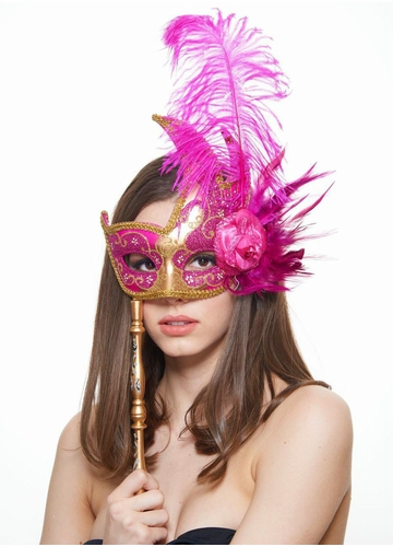 Handheld Swan Masquerade Mask With Feathers in 12 colors