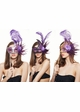 Handheld Swan Masquerade Mask With Feathers in 12 colors inset 3