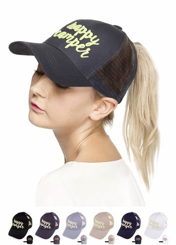 Happy Camper Color Changing CC Ponytail Baseball Hat